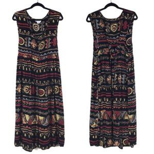 Vintage Tribal Print Babydoll Maxi Dress